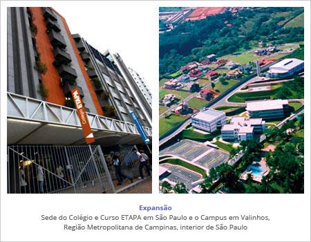 Sede do Colégio e Curso ETAPA em São Paulo e o Campus em Valinhos, Região Metropolitana de Campinas, interior de São Paulo